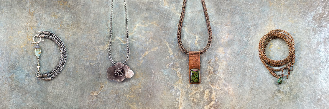 Jewelry items with Viking Knit chains