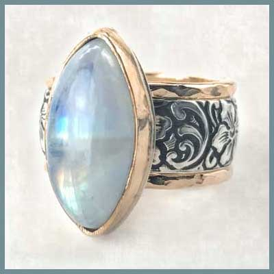 Vintage style moonstone marquise ring set