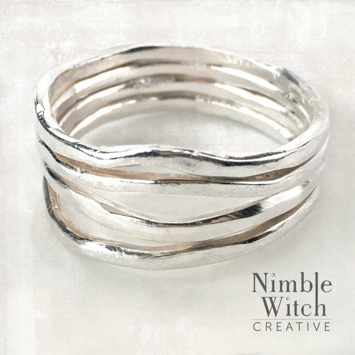 Multi-strand free form sterling silver thumb ring