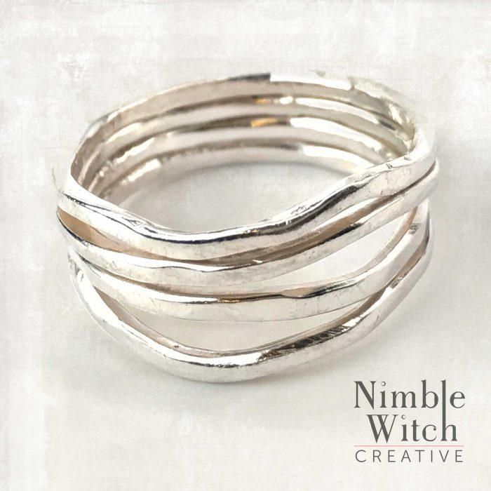 Freeform multi strand silver thumb ring