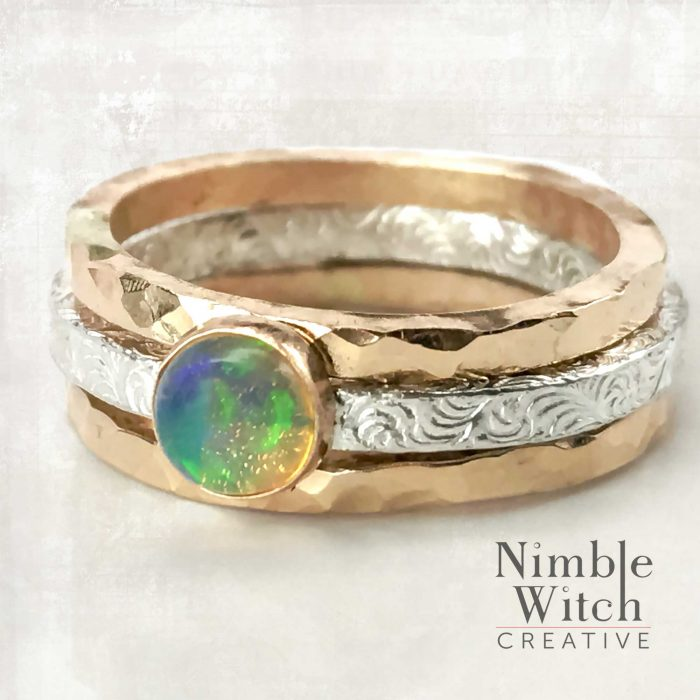 Opal ring or ring set in silver and gold